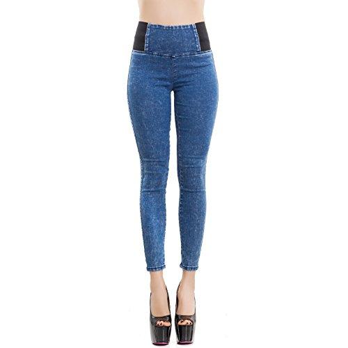 Donna Jeggings W0330 Pantaloni Nuovi Slim Jeans Toocool Alta Vita Aderenti Blu Skinny Sexy qAX5xan1Pw