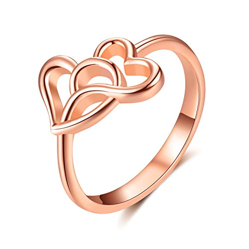 (AOBOCO Rose Gold Plated Heart 2 Heart Love Knot Silver Ring for Women, Girls Heart Shaped Promise Ring from Boyfriend Soulmate)