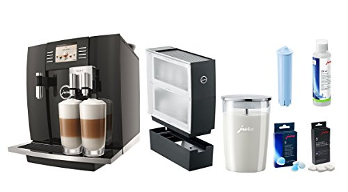 Jura GIGA 5 Piano Black Coffee & Beverage Center With Additional Bonus Cup Warmer, Glass Milk Container, Cleaning Tablets, Clearyl Filter And Frother Cleaner
