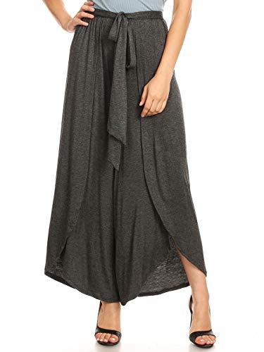 - Anna-Kaci Loose Tie Waist Belt ¾ Length Layered Side Slit Stretch Plain Palazzo Pants Trousers, Charcoal, Medium