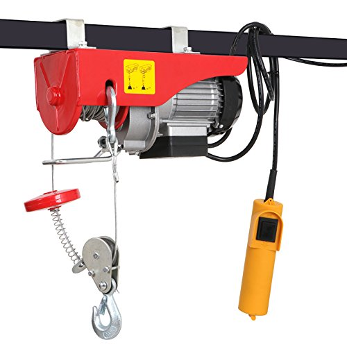 F2C 440LBS Overhead Lift Electric Hoist Crane Industrial Commercial Chain Winch Wire Cable Hoist Garage Auto Shop W/Remote Control