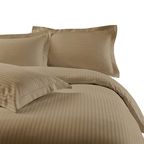 (Precious Star Linen Hotel Quality 800 Thread Count 3pc Duvet Cover Set Damask Striped Super King (98 x 108) Size 100% Egyptian Cotton, (Taupe))