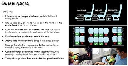 Avion Pal – Oreiller gonflable pour pieds avec pompe à main et sac de transport pour enfants avec rallonge de siège de voyage pour enfants