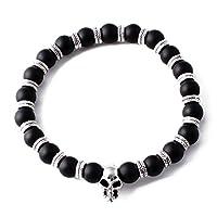 Perepaix RAVE Mens Bracelet Shamballa Black Agate Beads
