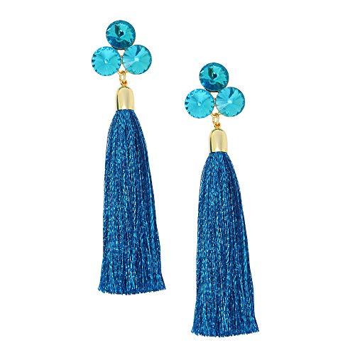 Round Crystal Rhinestone Bohemian LongTassel Dangle Earrings Drop Tiered Thread Statement Earrings Women Girls Chandelier Filigree Charm Ethnic Fringe Statement Tribal Soriee Fashion Lady ()
