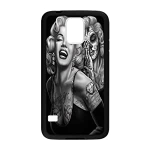 Custom Marilyn Monroe and Skull Face Phone case Cover For Samsung Galaxy S5 (Laser Technology)