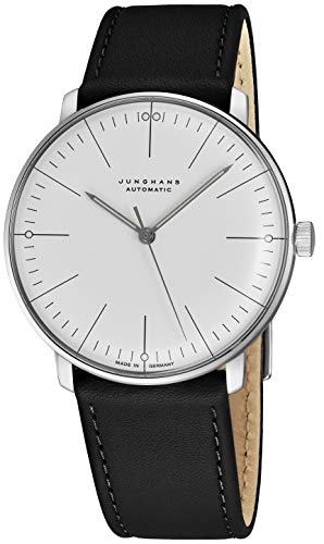 Junghans Max Bill Automatic Mens Watch - 38mm Analog White Face Classic Watch with Luminous Hands - Stainless Steel Black Leather Band Luxury Watch for Men Made in Germany 027/3501.00