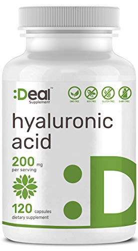 Deal Supplement Hyaluronic Acid 200mg Per Serving, 120 Capsules, Joint, Skin, Nails, Hair Lubrication, Non-GMO, Made in USA