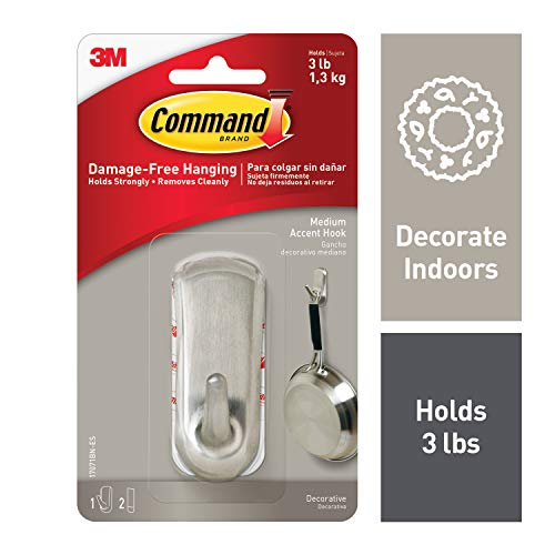 Command Silver 3 lb Capacity Accent Hook, Medium, Indoor Use - Accent Hook