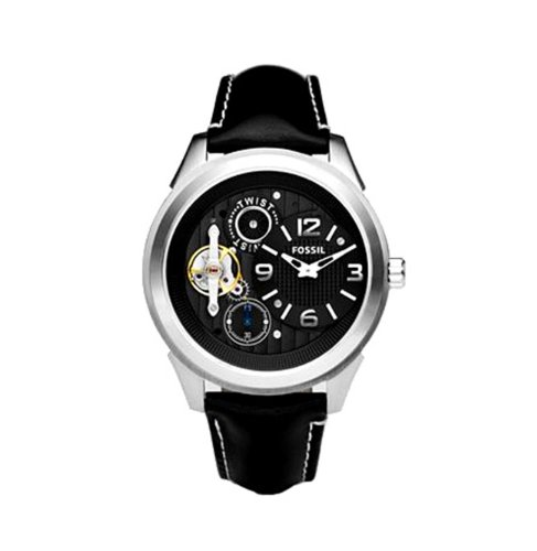 Fossil Men s ME1089 Black Leather Strap Textured Black Cutaway Analog Dial Watch