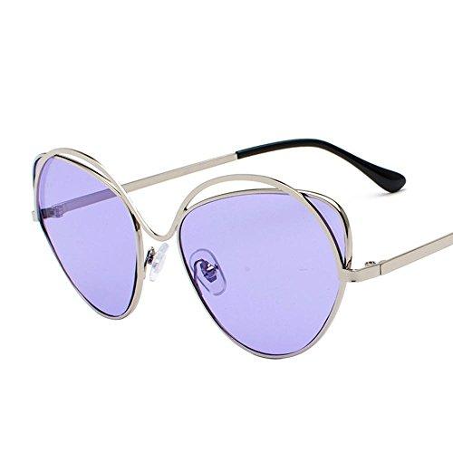 Aoligei Lunettes de soleil en métal verres de Dame Retro rond lunettes de soleil 5gJoNT