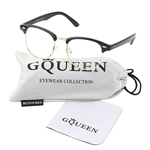 74010f50d0 Glasses Queen 201556 Vintage Inspired Classic Half Frame Nerd Wayfarers  UV400 Clear Lens Glasses