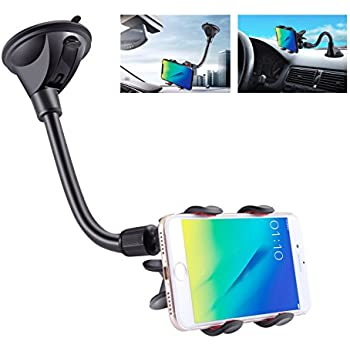 IPOW Upgraded X-Shaped Double Clamp Universal Long Shockproof Arm Phone Car Mount Windshield/Dash With Strong Suction Cup,Cell Phone Holder Compatible With iPhone 8 8 Plus X 7 7 Plus 6Galaxy S9 S8