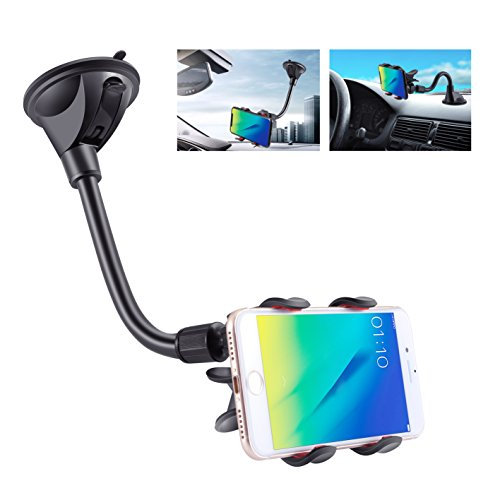 IPOW Upgraded X-Shaped Double Clamp Universal Long Shockproof Arm Phone Car Mount Windshield/Dash With Strong Suction Cup,Cell Phone Holder Compatible With iPhone 8 8 Plus X 7 7 Plus 6Galaxy S9 S8 (Best Windows 8 Phone)