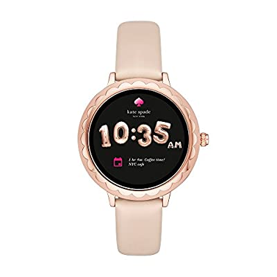 Kate Spade New York, Women's Smartwatch, Scallop Rose Gold-Tone Stainless Steel with Vachetta Leather, KST2003 from kate spade new york Connected Watches Child Code