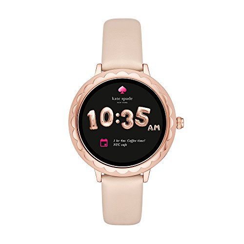 - Kate Spade New York Scallop Touchscreen Smartwatch, Rose Gold-tone Stainless Steel, Vachetta Leather Band, 42mm, KST2003