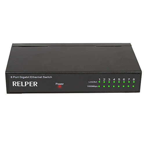 8 Port Gigabit 10/100/1000Mbps Ethernet Desktop Switch Hub by RELPER