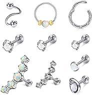MODRSA 16g Cartilage Earrings for Women Tragus Earring Stud Hoop Forward Helix Piercing Jewelry Diamond Opal S