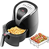 Secura 1500 Watt Large Capacity 3.2 Liter, 3.4 QT, Digital Hot Air Fryer and Additional Accessories, Recipes, Toaster Rack and Skewers