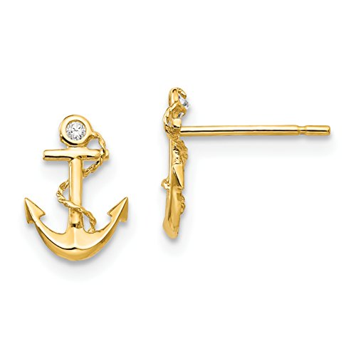 Madi K 14K Yellow Gold CZ Small Anchor Post Earrings (Approximate Measurements 9mm x 7mm)