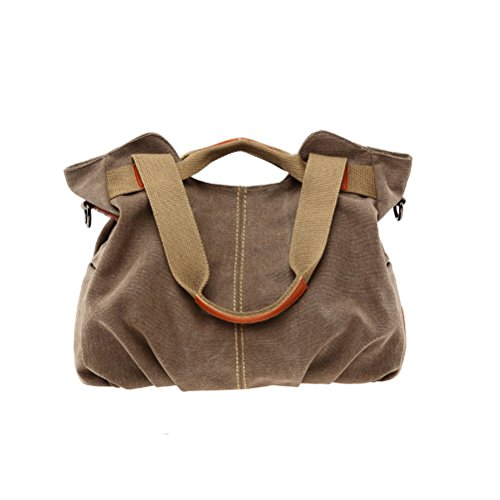 Umily Damen Mädchen Casual Canvas Umhängetasche Handtasche Schultertasche Tote ideal für Büro Freizeit Einkaufen Outdoor-Kaffee