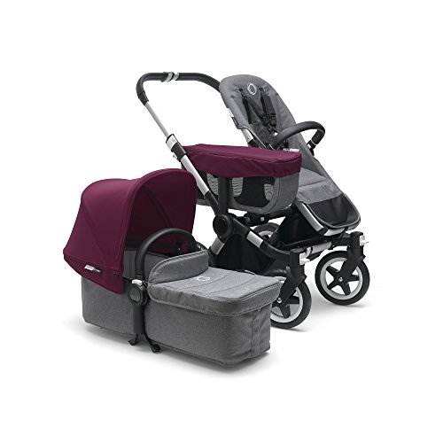 Bugaboo Donkey 2 Mono Baby Stroller, Foldable Stroller, Converts into Twin Side-by-Side Sibling Stroller, from Birth Baby Stroller, Infant Stroller, Multiple Seat Positions, Grey/Red ()