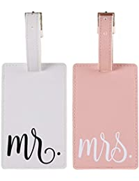 Mr & Mrs Luggage Tags Couple Honeymoon Tags Set by Toughergun Vegan Leather Pink and White
