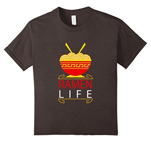Kids Ramen Life T-Shirt - Funny Ramen Noodles Bowl Asian Food Tee 12 Asphalt