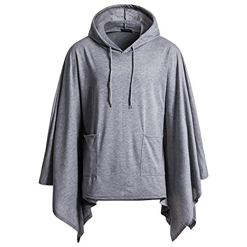 Fitfulvan, Mens Irregular Patchwork Loose Bat Sleeves Hooded Poncho Cape ()