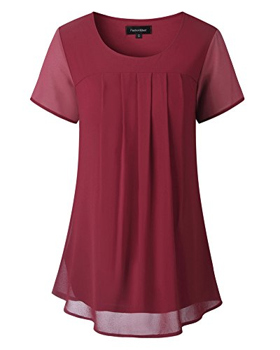 LEANI Women's Summer Chiffon Round Neck Short Sleeve Blouse Pleated Flowy Double Layers Tunic Top (Layer Double Tunic)