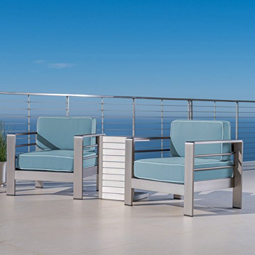 Christopher Knight Home Cybele Doris Outdoor 3 Piece Silver Aluminum Framed Chat Set with Light Teal and White Corded Water Resistant Cushions