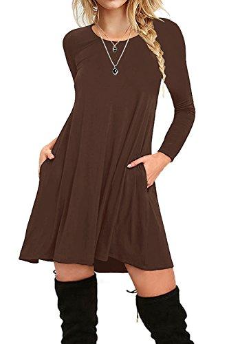 i2crazy Women's Long Sleeve Pockets Casual Plain T-shirt Loose Dresses(07-Long -