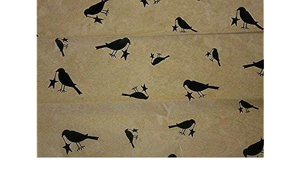 Primitive Black CROW w// Star Tissue Paper on Kraft # 263 ~ 10 Large Sheets