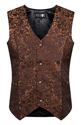 Ro Rox Men's Tailored Gothic Steampunk Brocade Waistcoat - Brown (X-Large) ()