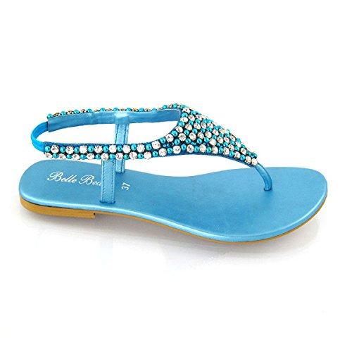 ESSEX Cinturino Sandalo Finto Posteriore Diamante Infradito Perlato GLAM Donna Turchese rp0xHar