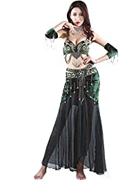 Pearl Embroidery Bra Skirt Belly Dance Costume Suit 2 Colors 3 Sizes