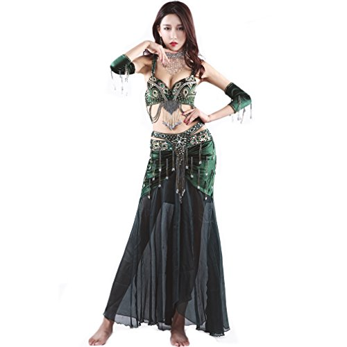 Green Belly Dance Costume - UPRIVER GALLERY Pearl Embroidery Bra Skirt Belly Dance Costume Suit Blackish Green M 36/80C