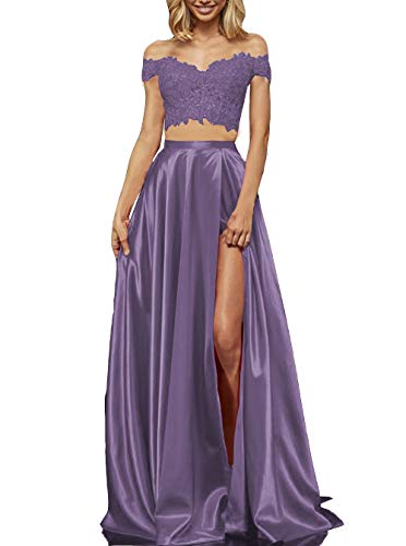 924b766f3 Women's Lace Satin Two Piece Prom Dresses Off The Shoulder Long Formal  Evening Gown with Slit