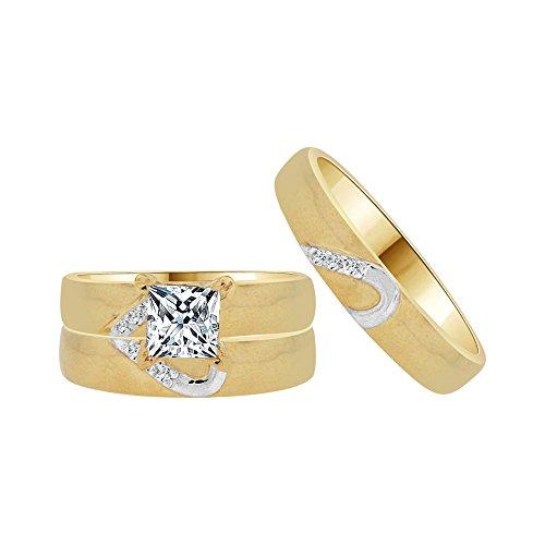 14k Yellow Gold White Rhodium, Trio 3 Piece Wedding Ring Set Princess Created CZ Crystals 1.0ct