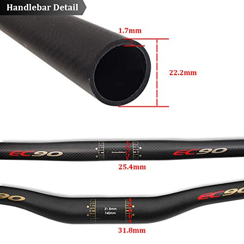 31.8mm Full Carbon Fiber Cycling Handlebar Road Bicycle Bike MTB Flat Riser Bar