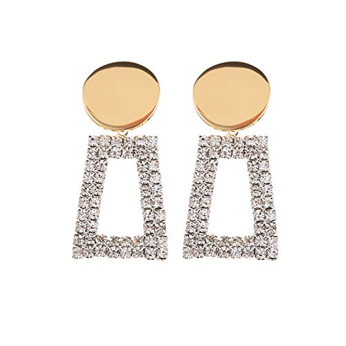 - ATIMIGO Crystal Drop Earrings Gold Disc Geometric Dangle Stud Earrings Hypoallergenic for Women Girls