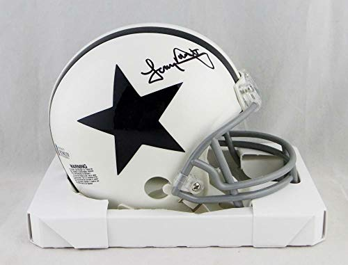 (Tony Dorsett Autographed Signed Dallas Cowboys 2004 Tb White Mini Helmet Beckett Auth Black - Certified Signature)
