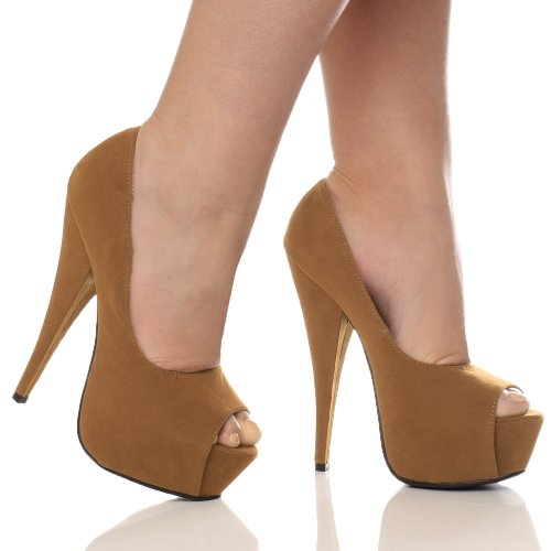 Bout Femmes Brun Daim Chaussures Ouvert Talon Haut Plateforme Sandales Pointure Classique rqzqPt