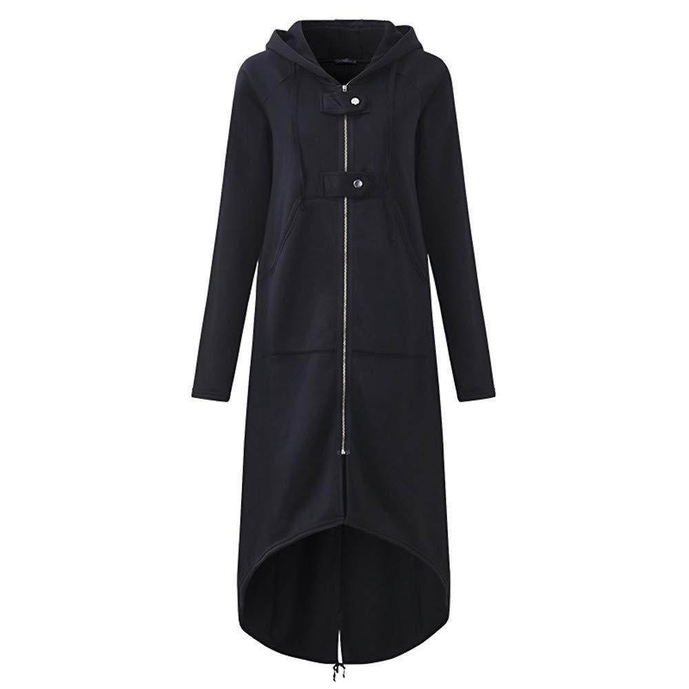 perfectCOCO Long Sweatshirt Women Fashion Hoodie Windbreaker Warm Hooded Jacket Long Sleeve Coat with Pocket Black by perfectCOCO
