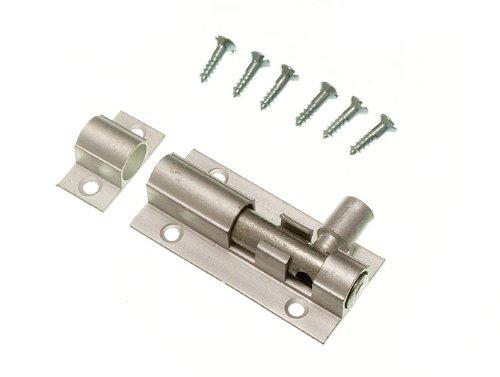 Door Bolt Barrel Slide Lock 38Mm 1 1/2 Inch Aluminium + Screws Pack Of 3 ()