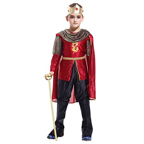 Kids Boys Prince King Costume Halloween Outfit Fancy Dress Clothing Set (6-7)