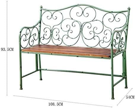 XLOO Muebles de Exterior Vintage de Hierro Forjado, Banco de jardín con Patio, loveseats, Silla de Camino de Porche, Patio con Patio Exterior de diseño Antiguo Home Garden Parks Patio Trasero Piscin: