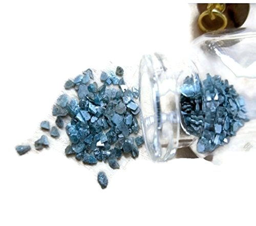 10 Carat Blue Diamond Slices, Raw Rough Uncut Diamond, Bottle Jewelry, Glass Vial Pendant, 2-5mm Approx by GemsDiamondsbySHIKHA
