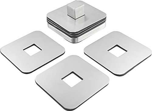 Large Product Image of Stainless Steel Table Coaster Set - 6 Square Coasters to Prevent Stains and Scratches by Juices, Beverages, Glasses, Bar Drinks, Mugs, Coffee Cups, Wine Stemware by Pro Chef Kitchen Tools
