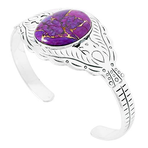 (Thunderbird Turquoise Bracelet Sterling Silver 925 Genuine Turquoise Gemstones Cuff Bracelet (Purple Turquoise))